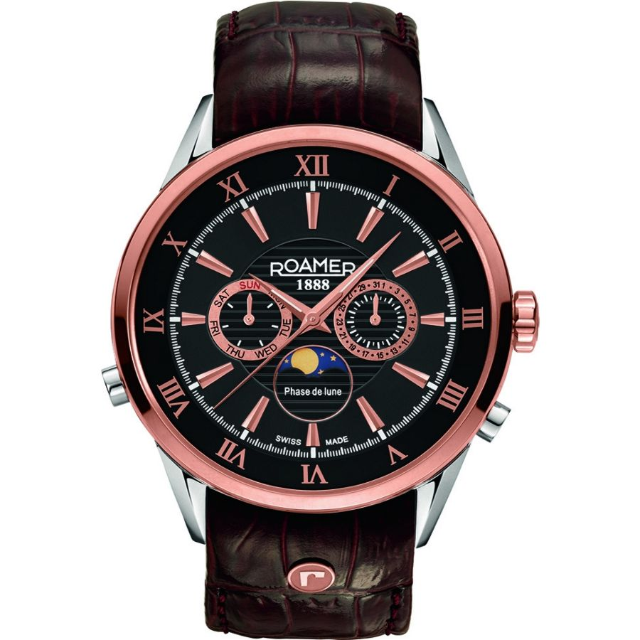 Roamer Superior Moonphase Gents Chronograph Rose Gold Black Watch