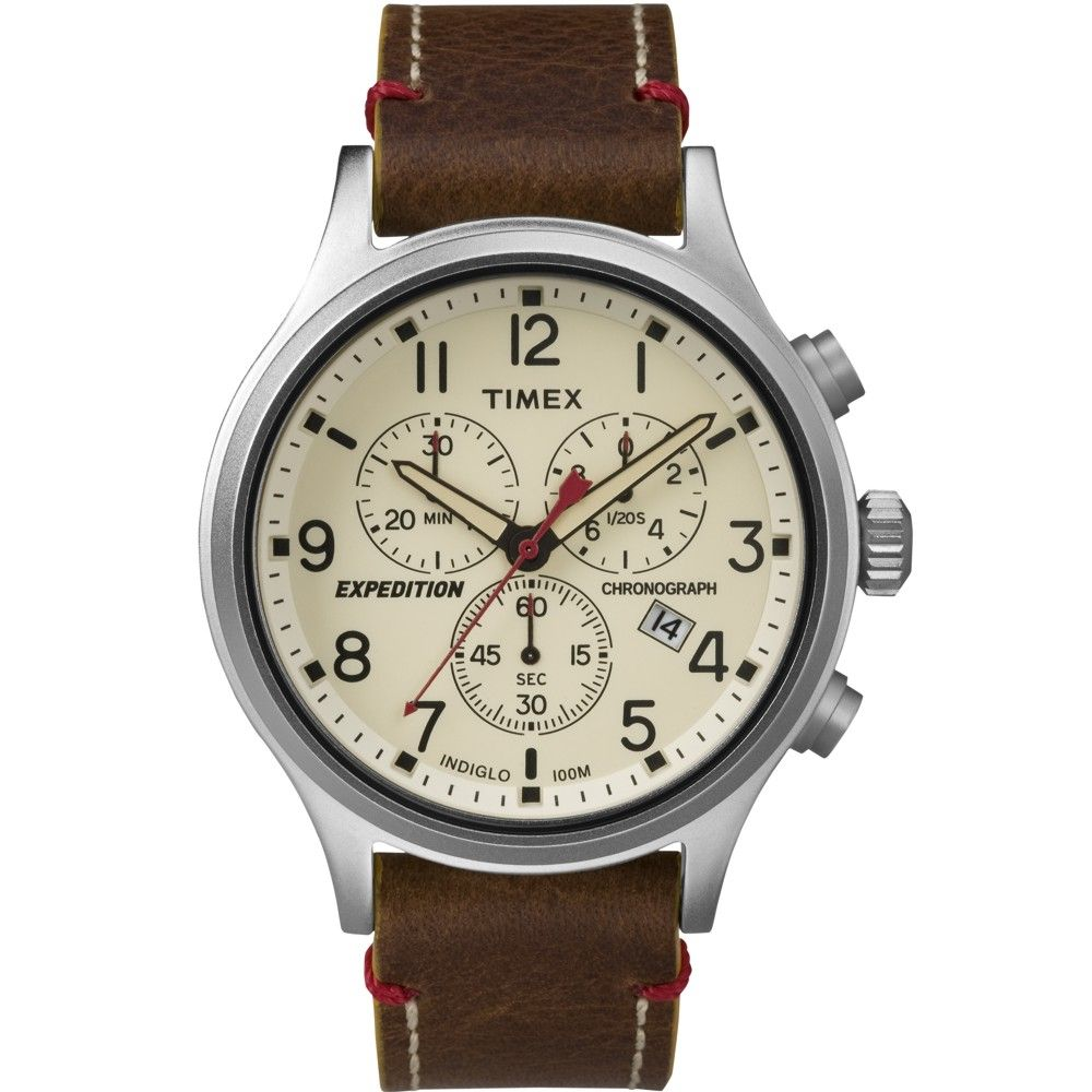 Timex TW4B04300 Expedition Scout Chronograph Brown Leather