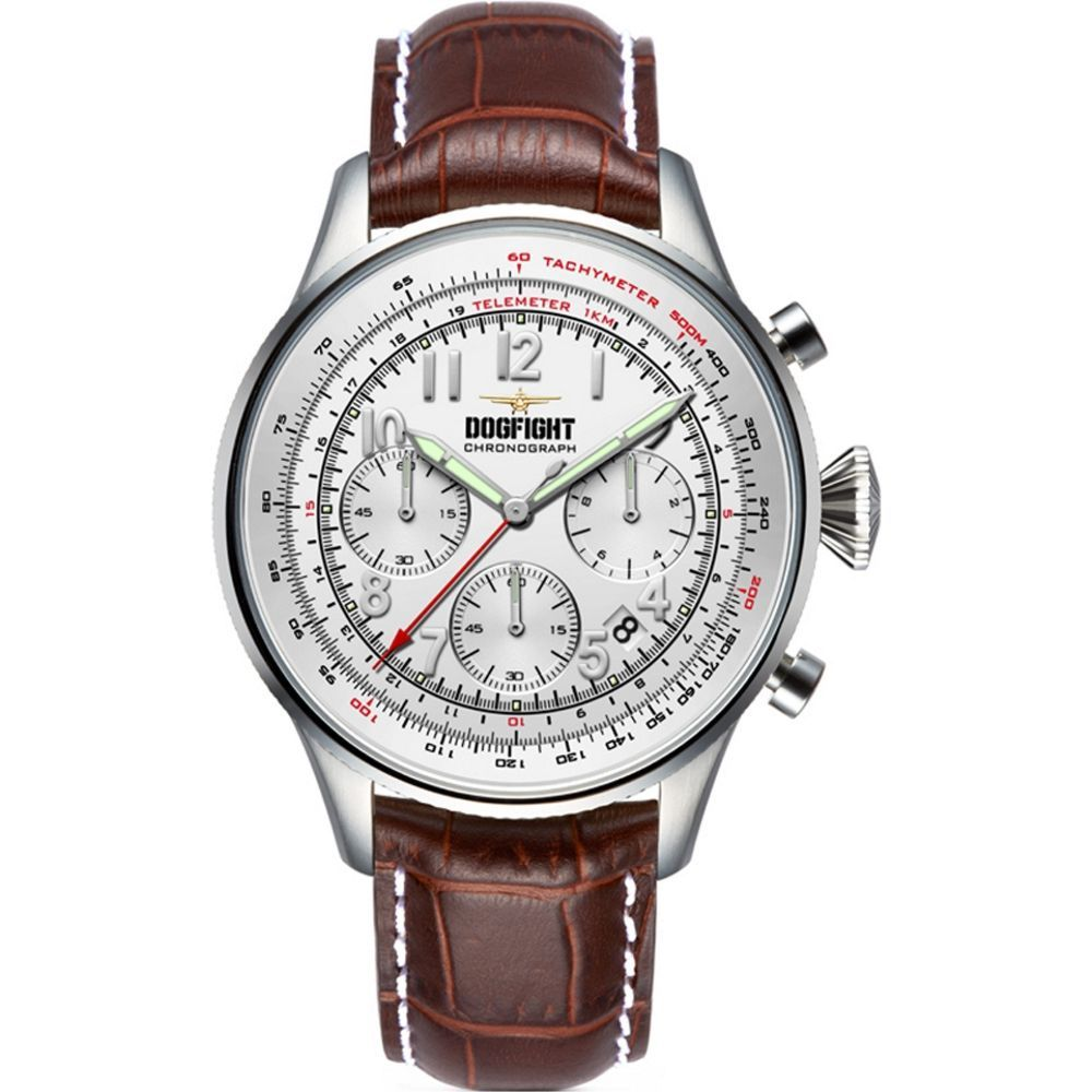Dogfight Wingman Brown Leather Chronograph Mens Watch DF0034