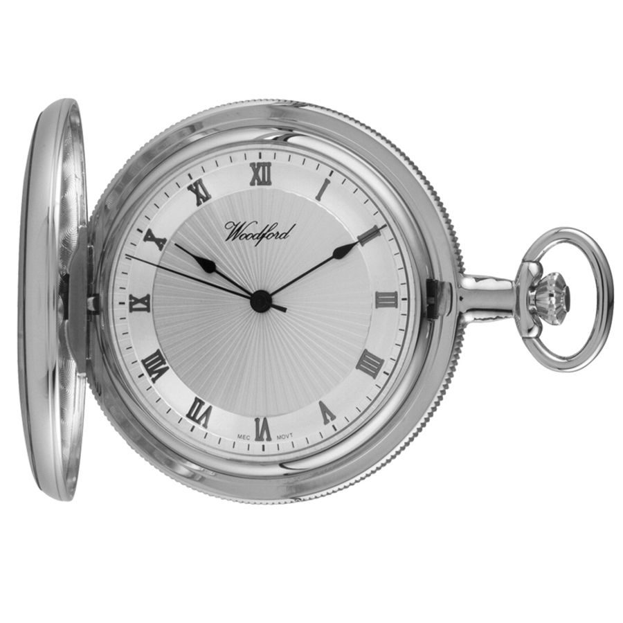 ff10c2048 Woodford Chrome Plated Full Hunter Pocket Watch 1054