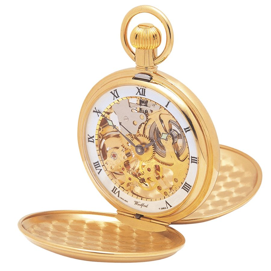 woodford gold plated twin lid skeleton pocket watch 1014